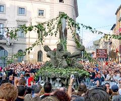 The fountain of the four moors during the Marino Grape Festival.